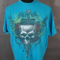 Miami Ink Skull Dagger Barb Wire Roses Aqua Blue Tattoo Roses Shirt 2xl Photo