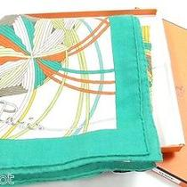 Mib Auth Hermes White l'art Du Temari Cashmere Silk in Box Scarf Shawl 54