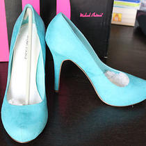 Michael Antonio Turquoise Suede Pumps Heels Size 9 New Nib Love Me Aqua Spring Photo