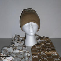 Michael by Michael Kors Mk Logo Light Brown and White Scarf and Hat Set Photo