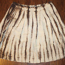 Michael Kors 100% Linen Womens Tie Dyed Skirt Size 16w Beige Brown Photo