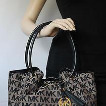 Michael Kors 258 Ring Tote Medium Handbag Jacquard Logo Leather Trim Black Bag Photo