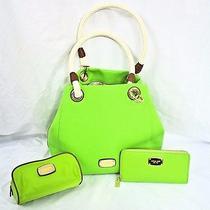 Michael Kors 3pc Setmarina Canvas Grab Bag Zip-Walletcosmetic Bag Pear Green Photo