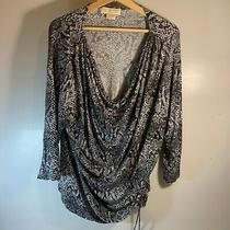 Michael Kors Animal Print Blouse Pre-Owned 3xl Wide Neck Multicolored  Photo