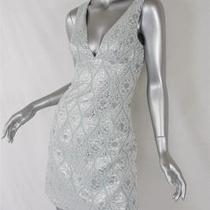 Michael Kors Aqua-Greensilver Brocade Sleeveless v-Neck Short Dress 2 Newtag Photo