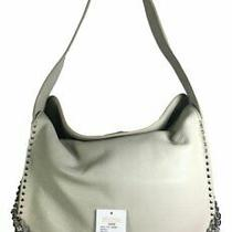 Michael Kors Astor Cement Pebble Leather Studded Shoulder Hobo Bag New Photo
