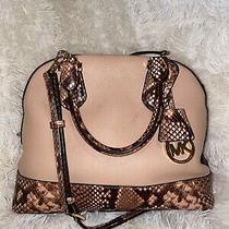 Michael Kors Authentic Blush Leather/python Trim Purse/handbag/crossbody/satchel Photo