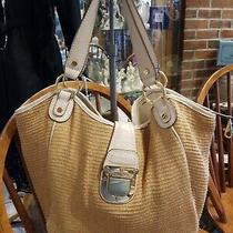 Michael Kors Beige Leather W Straw Big Hobo Satchel Tote Bag Shoulder Purse- Euc Photo