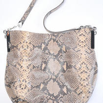 Michael Kors Beige Sand Leather Julian Python Print Shoulder Purse Bag New 378 Photo