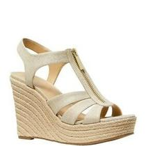 Michael Kors Berkley Espadrille Wedge Sandal Pale Gold Size 9.5m New in Bag Photo