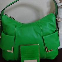 Michael Kors Beverly Large Top Zip Lamb Leather Shoulder  Flat Card Palm Green Photo