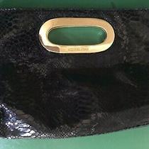 Michael Kors  Black Embossed Suede Berkley Clutch With Gold-Tone Hardware Photo