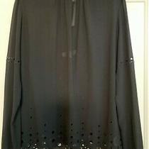 Michael Kors Black Eyelet Blouse Size Xl Complete With Detachable Under Vest Photo