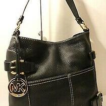 Michael Kors Black Genuine Leather Belted Hobo Shoulder Purse Bag Mk Tag Charm Photo
