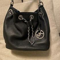 Michael Kors Black Gold Id Chain Hobo Leather Tote Large Shoulder Bag Photo