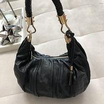 Michael Kors Black Hobo Pleated Leather Bag Handbag Designer Line 860 Photo