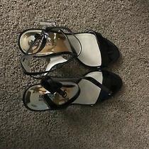Michael Kors Black Kaylee Mid Patent Leather Size 8m Mk Logo New Sandal Photo