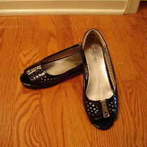 Michael Kors Black Lacquer Leather Flats Ballet Shoes Open Toe Sz 7 Mint Cond  Photo