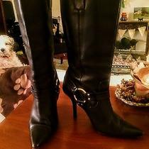 Michael Kors Black Leather Boots Pull on High Heel  Size 6.5m Photo