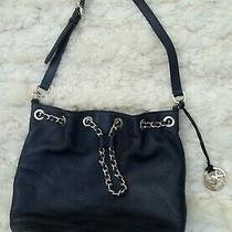 Michael Kors Black Leather Bucket Bag Purse Chain Pebbled Euc Hobo Shoulder Photo
