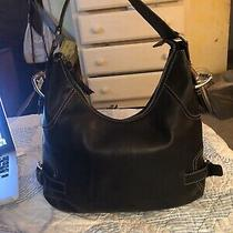 Michael Kors Black Leather Hobo Bag Handbag Purse Shoulder Bag Stitching (Q) Photo