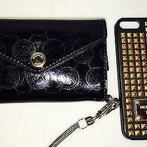 Michael Kors Black Patent Leather Wristlet Wallet Iphone 5s Studded Case Photo