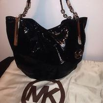 Michael Kors Black Patent Python Shoulder Bag Photo