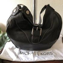 Michael Kors Black Pebble Leather Slouchy Hobo Shoulder Bag Front Buckle Guc Photo