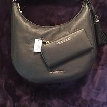 Michael Kors Black Pebbled Leather Lydia Large Hobo and Jet Continental Wallet Photo