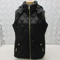 Michael Kors Black Quilted Vest Hooded Zip Jacket Womens Large Pre-Owned Z16 Photo