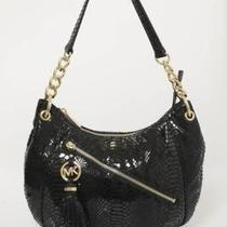 Michael Kors Black Snakeskin Patent Leather Hobo Bag Photo