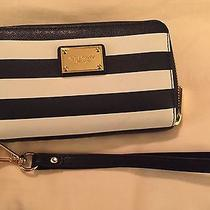 Michael Kors Blue and White Striped Wristlet for Iphone Photo