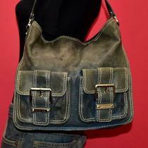Michael Kors Blue Leather Double Pocket Shoulder Hobo Rugged Tote Purse Bag Photo