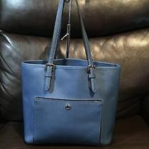 Michael Kors Blue Saffiano Leather Medium Tote Shoulder Handbag W/card Pockets. Photo