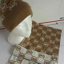 Michael Kors Boxed Hat and Scarf Set Mk White and Camel Brown Nib Photo