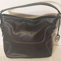 Michael Kors Brookville Large Leather Hobo Shoulder Tote Bag Purse Black Handbag Photo