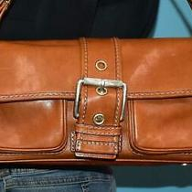 Michael Kors Brown Leather Hobo Flap Belted Buckle Shoulder Satchel Purse Bag Photo