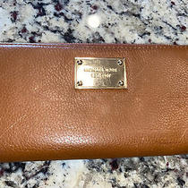 Michael Kors Brown Leather Wallet With Zipper Side Est. 1981 Photo