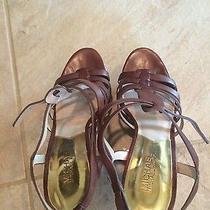 Michael Kors Brown Leather Wedge Sandals Size 8 1/2 Photo