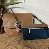 Michael Kors Brown Navy Zip Around Wallet W/brown Leather Crossbody Purse Photo