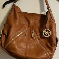 Michael Kors Brown Pebbled Leather Front Zippers Shoulder Hobo Tote Bag Buckles Photo