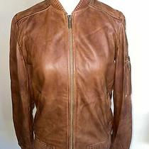 Michael Kors Brown Washed Leather Bomber Jacket in Cognac Size Xs Us0 Photo