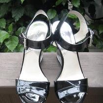 Michael Kors Camilla Black Patent Lucite Wedge Sandals 7.5 Retail 185 Photo