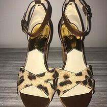 Michael Kors Camilla Mocha Leather/canvas Open Toe Platform High Heel Sandals 6m Photo