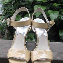 Michael Kors Camilla Nude Lucite Wedge Patent Sandals 7.5 Retail 185 Photo