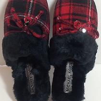 Michael Kors Carter Slipper 8m Red Buffalo Plaid Knit Bedroom Shoe New Photo