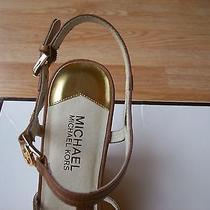 Michael Kors Celena Wedge Sandals Ankle T Strap Studded Black Leather Sz 10 New Photo