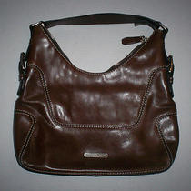 Michael Kors Chocolate Leather Hobo Shoulder Bag Purse Photo