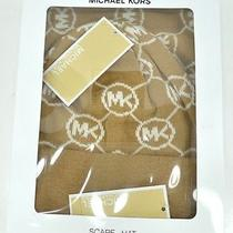 Michael Kors Circle Monogram Mk Logo Scarf & Hat Set Camel & Cream New in Box Photo