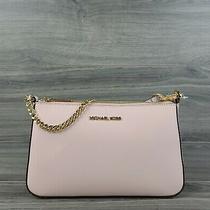 Michael Kors Crossbody Medium Leather Jet Set Zip Pouchette Handbag (Blush Pink) Photo